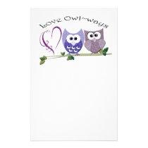Love Owl~ways, cute Owls art gifts Stationery