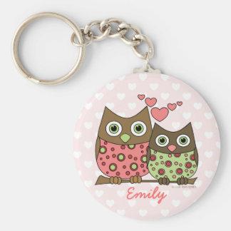 Love Owls Basic Round Button Keychain