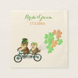Love owls bicycle tandem Irish Saint Patrick's day Standard Cocktail Napkin