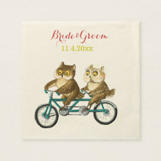Love owls bicycle tandem watercolor paper napkin