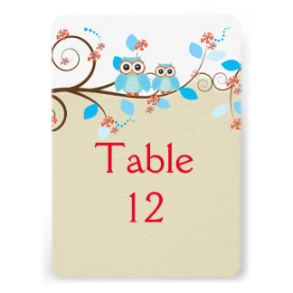 Love Owls Branches Wood Damask Table card