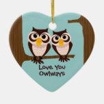 Love Owls Christmas Holiday Ornament
