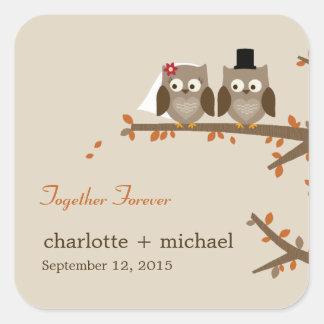 Love Owls Fall Wedding Favor Sticker
