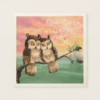 Love owls hearts pink napkin