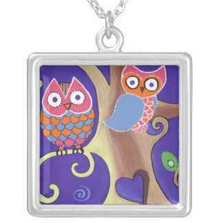 Love Owls in the Moonlight Square Pendant Necklace