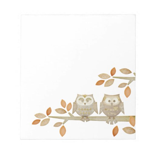 Love Owls in Tree Notepad