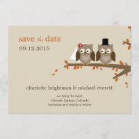 Love Owls Save The Date - Orange