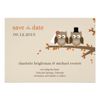 Love Owls Save The Date - Orange Custom Invitations
