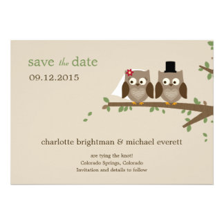 Love Owls Save The Date Wedding Announcements Custom Invites