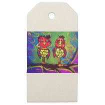 Love Owls Wooden Gift Tags