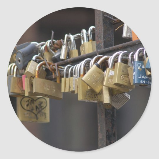 Love Padlocks, Prague Classic Round Sticker