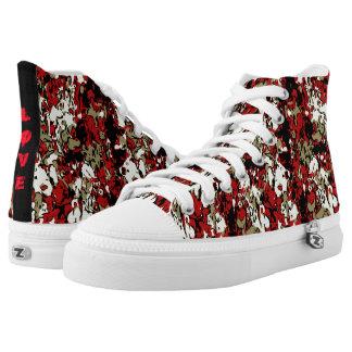 Love Paint Splatter Cheetah Camouflage Zip Shoes