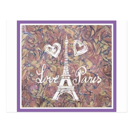 LOVE PARIS EIFFEL AND HEART ON WATERCOLOR POSTCARD