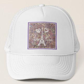 LOVE PARIS EIFFEL AND HEART ON WATERCOLOR TRUCKER HAT