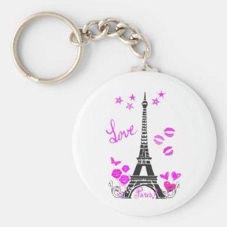 LOVE PARIS EIFFEL TOWER PRINT BASIC ROUND BUTTON KEYCHAIN