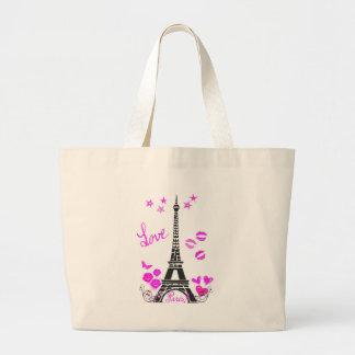LOVE PARIS EIFFEL TOWER PRINT LARGE TOTE BAG