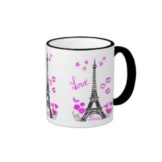 LOVE PARIS EIFFEL TOWER PRINT RINGER COFFEE MUG
