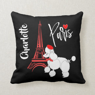 Love Paris French Poodle Super Cute Personalized Throw Pillow