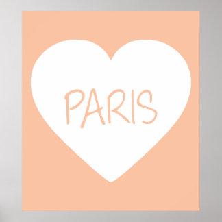 Love Paris heart Poster