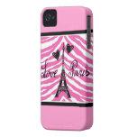 LOVE PARIS HEARTS AND EIFFEL ZEBRA PRINT iPhone 4 Case-Mate CASES