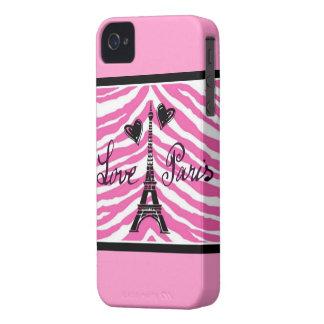 LOVE PARIS HEARTS AND EIFFEL ZEBRA PRINT iPhone 4 COVER