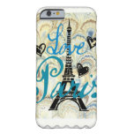 LOVE PARIS PASTEL BLUE HEARTS AND EIFFEL BARELY THERE iPhone 6 CASE
