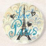 LOVE PARIS PASTEL BLUE HEARTS AND EIFFEL PRINT BEVERAGE COASTERS