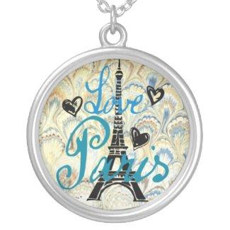 LOVE PARIS PASTEL BLUE HEARTS AND EIFFEL PRINT NECKLACE