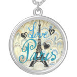 LOVE PARIS PASTEL BLUE HEARTS AND EIFFEL PRINT SILVER PLATED NECKLACE