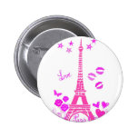 LOVE PARIS PINK EIFFEL PRINT BUTTONS