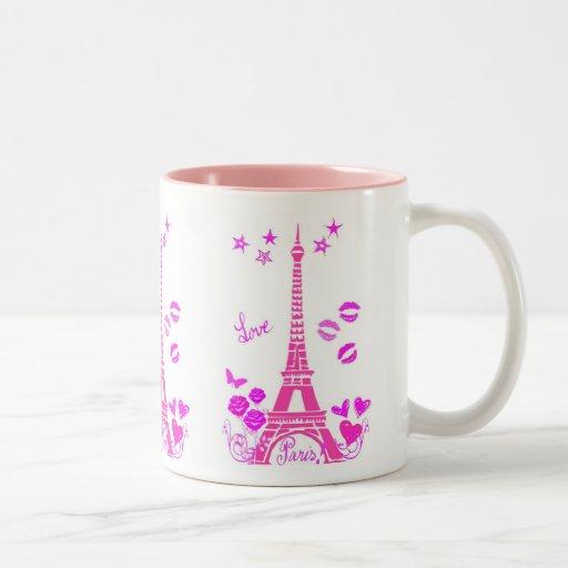 LOVE PARIS PINK EIFFEL PRINT COFFEE MUGS