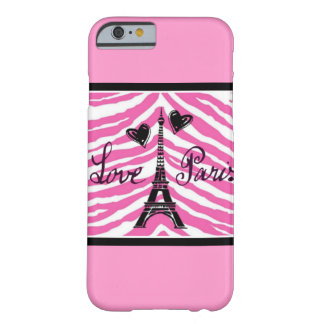 LOVE PARIS PINK ZEBRA EIFFEL TOWER HEART BARELY THERE iPhone 6 CASE