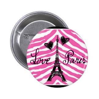 LOVE PARIS PINK ZEBRA EIFFEL TOWER HEART PRINT 2 INCH ROUND BUTTON