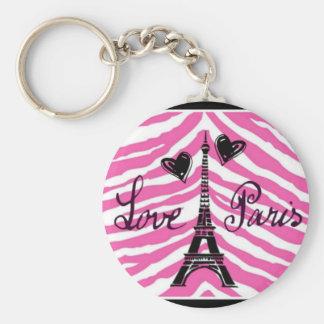 LOVE PARIS PINK ZEBRA EIFFEL TOWER HEART PRINT BASIC ROUND BUTTON KEYCHAIN
