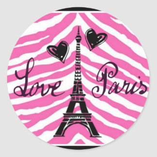 LOVE PARIS PINK ZEBRA EIFFEL TOWER HEART PRINT CLASSIC ROUND STICKER