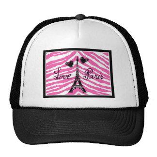 LOVE PARIS PINK ZEBRA EIFFEL TOWER HEART PRINT TRUCKER HAT