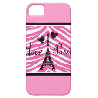 LOVE PARIS PINK ZEBRA EIFFEL TOWER HEART PRINT iPhone 5 COVER