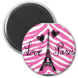 LOVE PARIS PINK ZEBRA EIFFEL TOWER HEART PRINT MAGNET