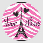 LOVE PARIS PINK ZEBRA EIFFEL TOWER HEART PRINT ROUND STICKERS