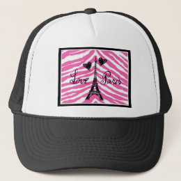 LOVE PARIS PINK ZEBRA EIFFEL TOWER HEART PRINT TRUCKER HAT