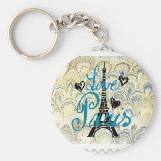 LOVE PARIS POSTAGE STAMP PRINT KEY CHAIN