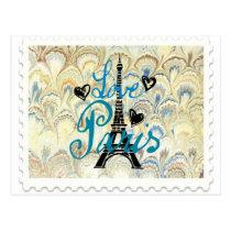LOVE PARIS POSTAGE STAMP PRINT POSTCARD