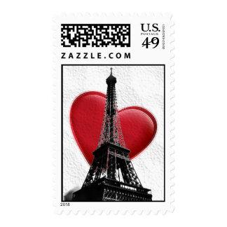 Love Paris Red Heart Eiffel Tower Postage