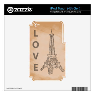 Love Paris Skin For iPod Touch 4G