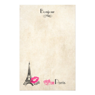 Love Paris with Eiffel Tower on Parchment Texture Stationery