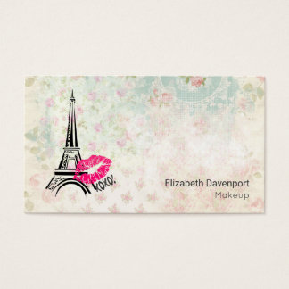 Love Paris with Eiffel Tower on Vintage Pattern Business Card