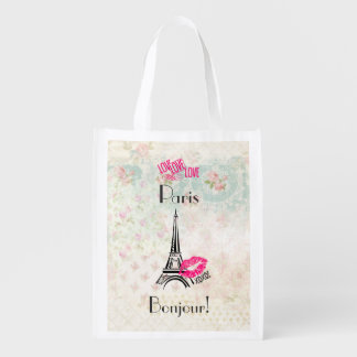 Love Paris with Eiffel Tower on Vintage Pattern Grocery Bag