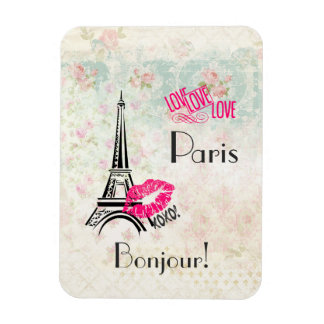 Love Paris with Eiffel Tower on Vintage Pattern Magnet