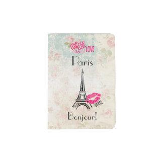 Love Paris with Eiffel Tower on Vintage Pattern Passport Holder
