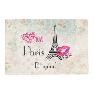 Love Paris with Eiffel Tower on Vintage Pattern Placemat